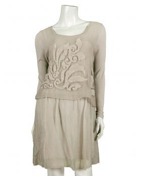 Tunika Kleid mit Stickerei, beige