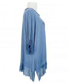 Tunikashirt A-Linie bestickt, blau (Bild 2)