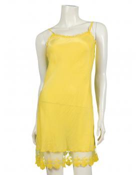Unterkleid mit Seide und Spitze, gelb