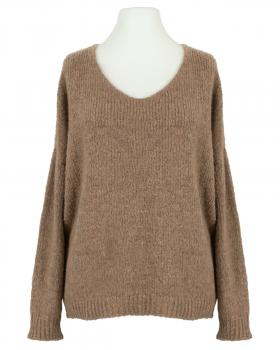 V-Ausschnitt Pullover Grobstrick, camel von Selected Touch