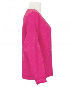 V-Ausschnitt Pullover Grobstrick, pink
