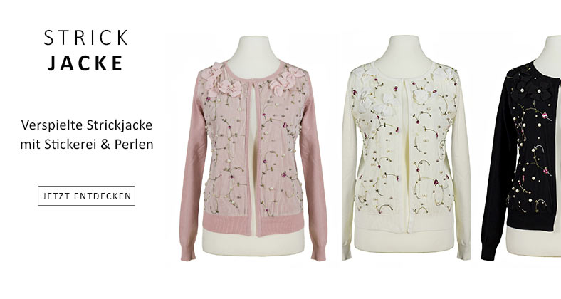 Damen Strickjacke Stickerei